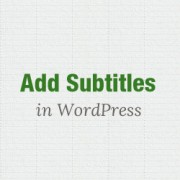 Subtitles in WordPress