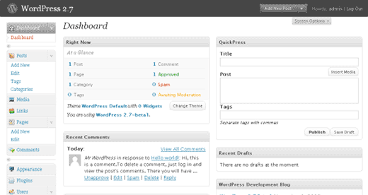 WordPress 2.7 Admin Dashboard