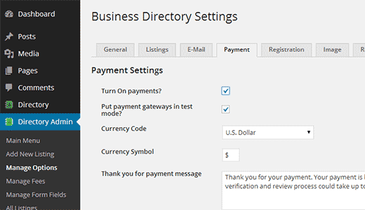 Accepting payments for listings in your web directory