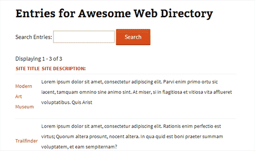 A web directory created with Gravity Forms Directory