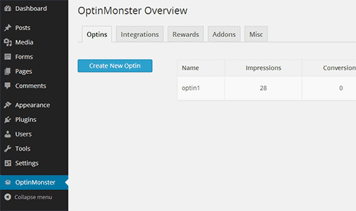 Creating a new optin in OptinMonster