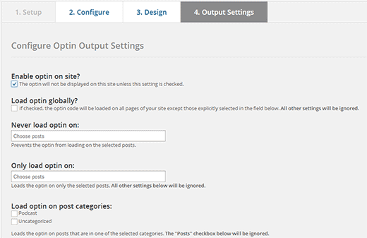 Output settings for your optin