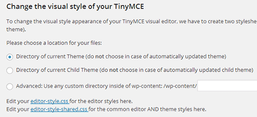 TinyMCE Professional Styles settings