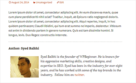 Author bio page inserted into a WordPress post