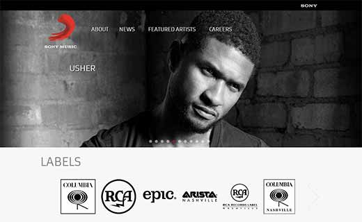 Sony Music 40+ Notable WordPress Websites - sonymusic