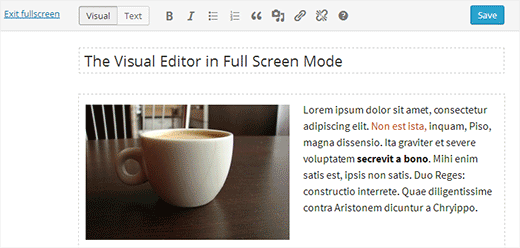Full screen visual editor in WordPress
