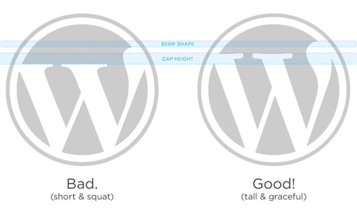 Official WordPress logo compared with a Fauxgo or bad logo