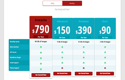 Preview of a pricing table in WordPress