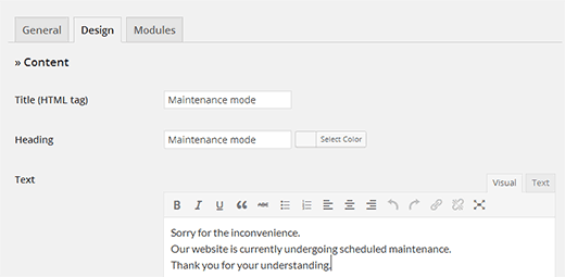 Design splash page for your WordPress maintenance page