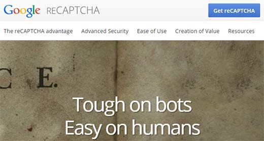 Get reCAPTCHA using your Google Account