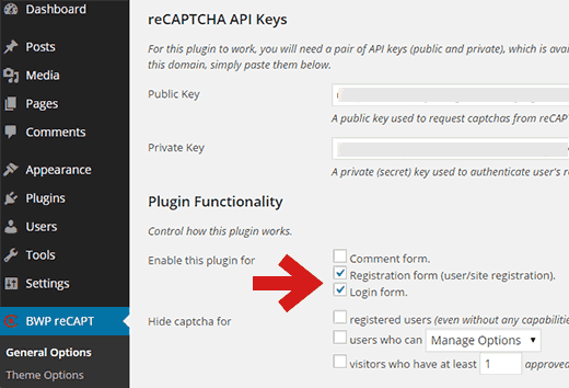 Enable reCAPTCHA for login and registration forms