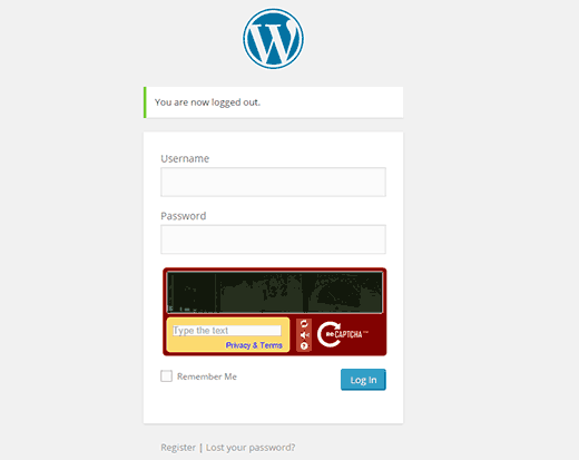 CAPTCHA enabled on WordPress login screen