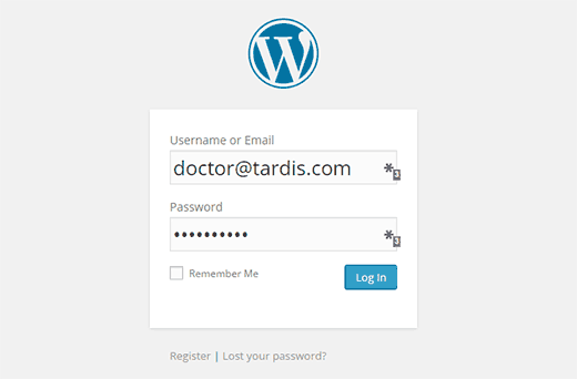 Logging in WordPress using email address
