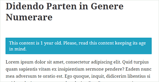 Outdated content message displayed on a WordPress post