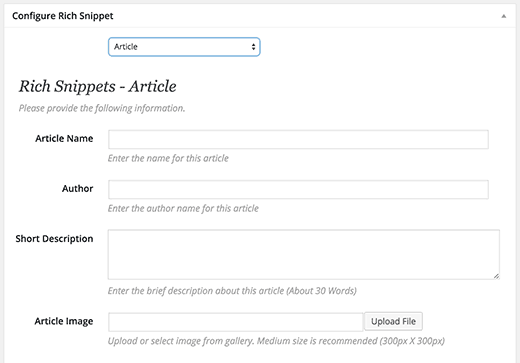 Rich snippets for article content type