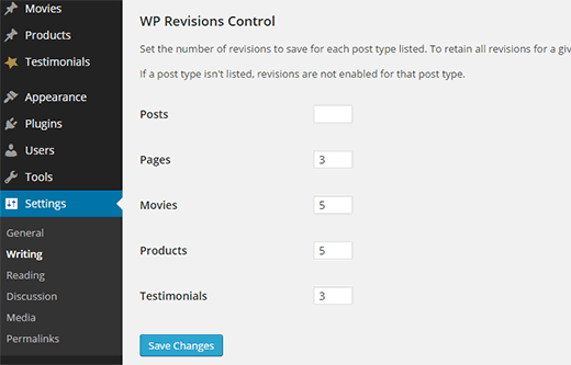 Revision Control Settings