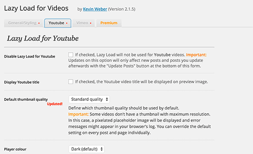 Lazy load for YouTube settings