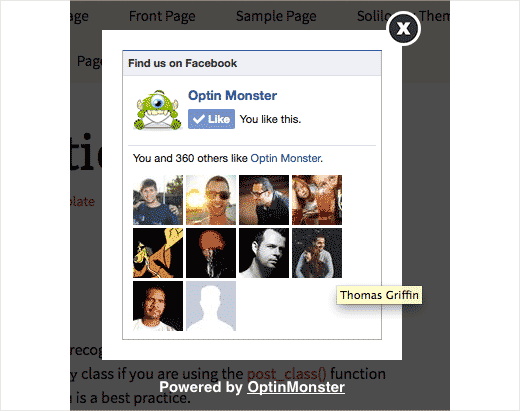 OptinMonster Facebook Like Box Popup
