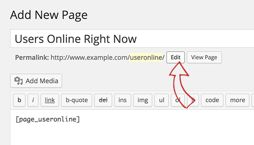 Edit page slug to useronline