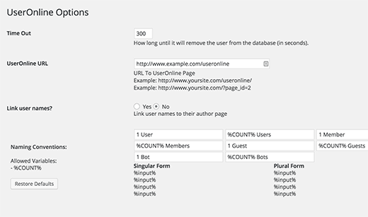 Users Online plugin settings