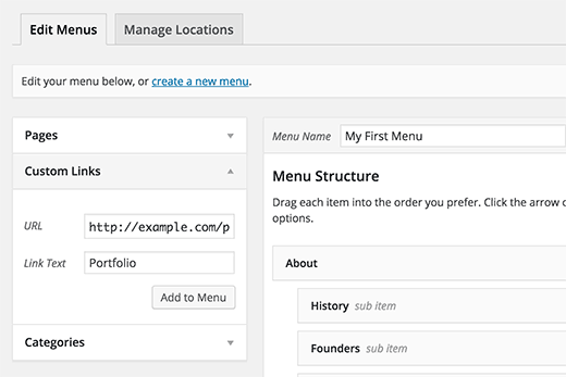 Adding custom links to WordPress navigation menus