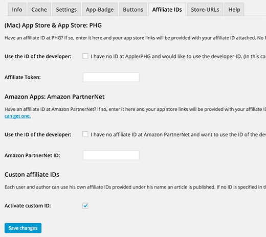 Adding your app store affiliate id