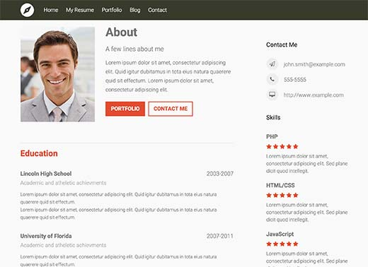 building a resume website - Wordpress Resume Template
