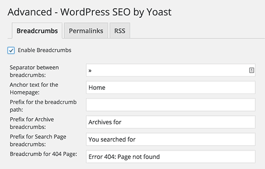 Breadcrumb settings in WordPress SEO