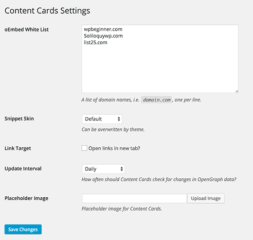 Settings page for content cards plugin