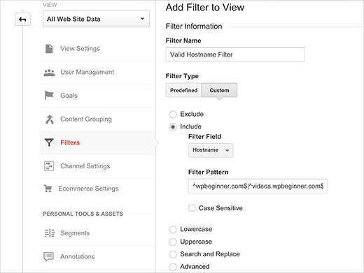 Creating a hostname filter in Google Analytics