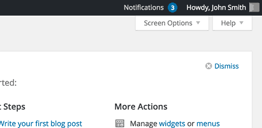 New notifications indicated by a number in the notifications menu