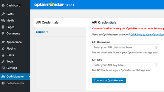 Enter your OptinMonster API key