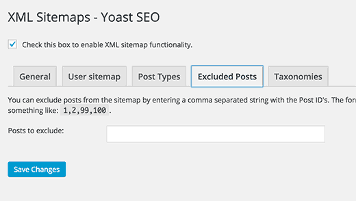 WordPress SEO exclude posts from XML sitemap