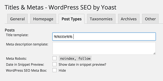 WordPress SEO Plugin - Post Type Title Settings
