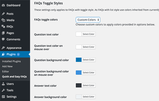 Change colors of your FAQs