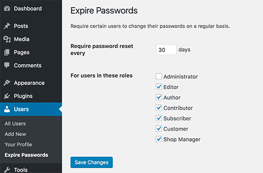 Setup a policy to expire passwords