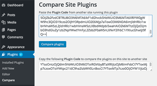 Paste plugin code on the other WordPress site for comparison