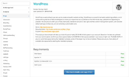 WordPress installer overview in Fantastico