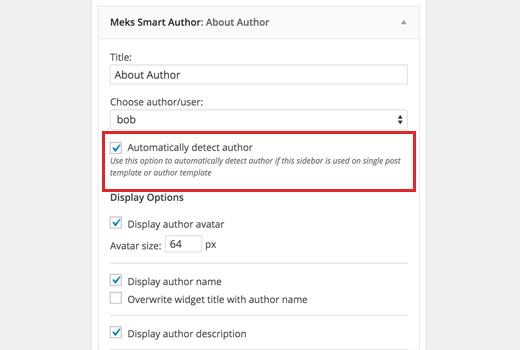Auto detect author widget
