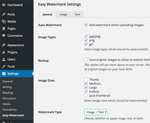 Easy Watermark plugin settings