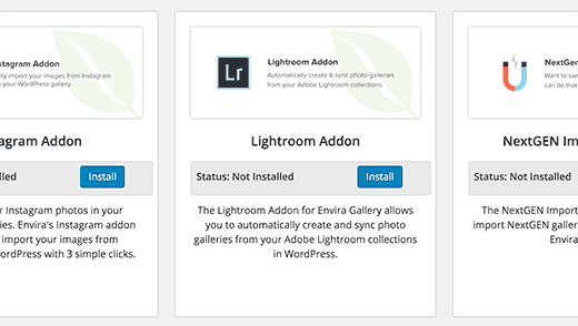 Installing lightroom addon in Envira Gallery plugin
