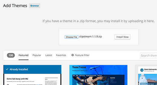 Upload and install theme zip file