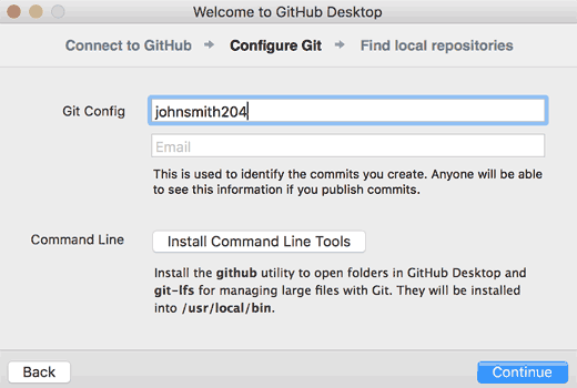 Configure git and install command line tools