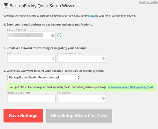 quick setup wizard in BackupBuddy
