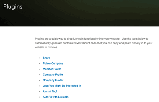 Manually adding LinkedIn plugins