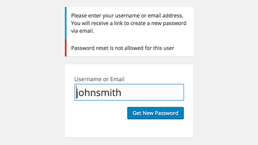 Password reset disabled for this user