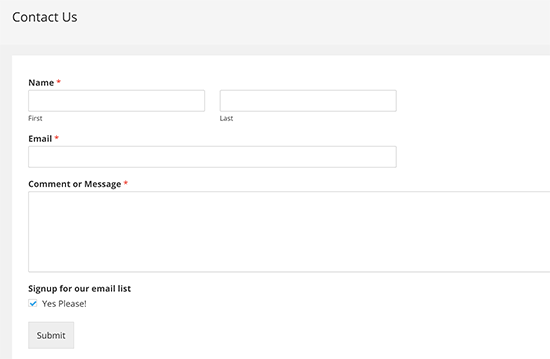 A contact form with email subscription optin