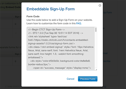 Embed code for your signup form