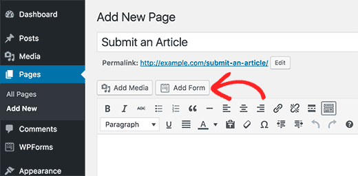 Add post submission form to a WordPress page