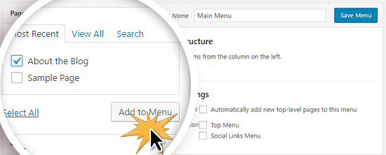 Adding pages to your WordPress menu